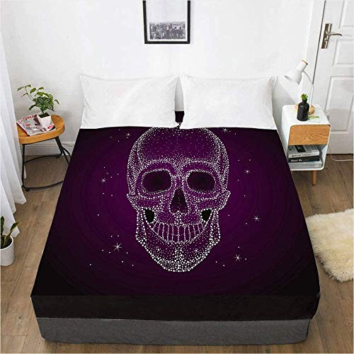 Bedclothes-Blanket bed sheets double bed set cotton pattern,3D Digital Printing Bed Sheet Mattress Protective Cover Skull Bedding-150x200_19