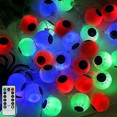 16FT Halloween Eyeball String Lights-30 LED Wat...