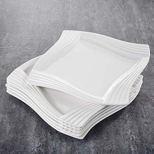 MALACASA, Série Amparo, 12pcs Assiettes Plates Porcelaine, Assiettes Plats de Services 12 Personnes