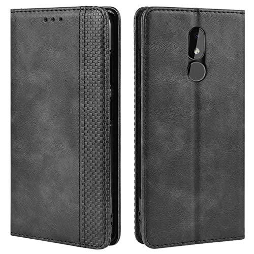 HualuBro Handyhülle für Nokia 3.2 Hülle, Retro Leder Brieftasche Tasche Schutzhülle Handytasche LederHülle Flip Hülle Cover für Nokia 3.2 2019 - Schwarz