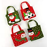 JPYH Bolsa de Regalo Navidad, 4 Pieza Bolsas de golosinas de Noel con Asas para Regalos de Envoltura de Navidad Almacenamiento Bolsas de Regalo Decoración Bolsas de Compras