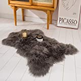 HYSEAS Faux Sheepskin Fur Area Rug Grey, 2x3 Feet, Fluffy Soft Fuzzy Plush Shaggy Carpet Throw Rug for Indoor Floor, Sofa, Chair, Bedroom, Living Room, Home Decoration