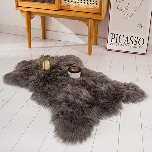 HYSEAS Faux Sheepskin Fur Area Rug Grey, 2x3 Feet,...
