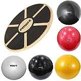 POWRX Balance Set I Balance Board Holz + Gymnastikball Sitzball versch. Farben I Gleichgewicht...