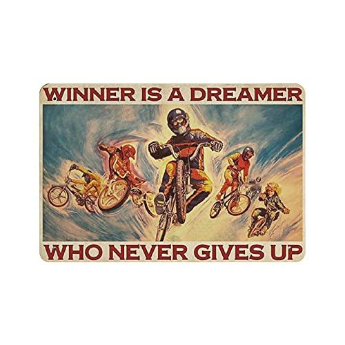 Laimėtojas yra svajotojas dviračio skardos ženklo metalinės plokštės dailumas pakabinamas geležies tapyba retro namų virtuvės sodo garažo sienų dekoras 8 'x12'