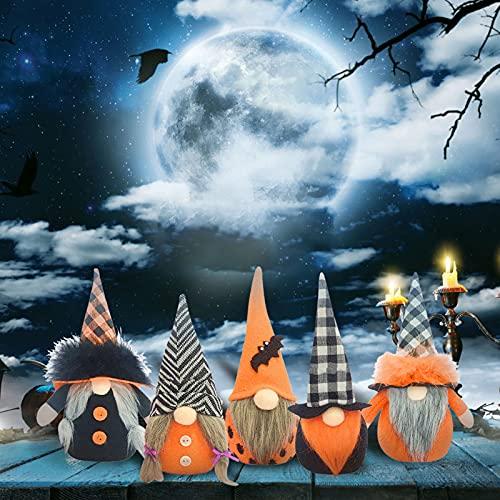 Ylight 5pcs Halloween Decoración Jardín Muñeca de gnomo sin Rostro Decoraciones Divertidas Muñeca de Felpa de Halloween Hecha a Mano Figuras de gnomo