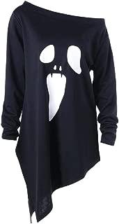 iLOOSKR Womens Halloween O-Neck Long Sleeve Ghost Print Broadcloth Sweatshirt Pullover Tops Blouse