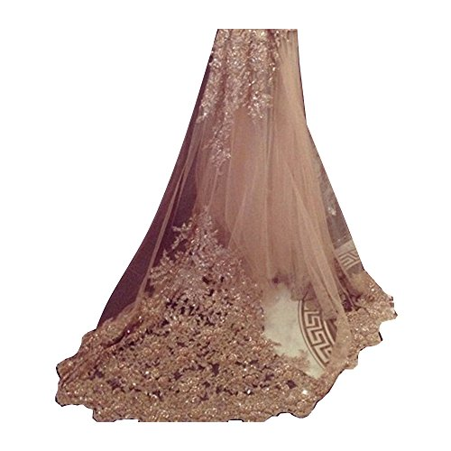 EllieHouse Women's Lace Chapel Wedding Bridal Veil With Free Comb E21 Champagne