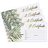 Juego de 25 tarjetas de regalo con diseño de flores y follaje