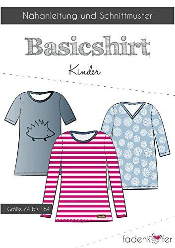 Stoffe Werning Schnittmuster Fadenkäfer Basic Shirt Kinder Gr.74 bis 164 Papierschnittmuster