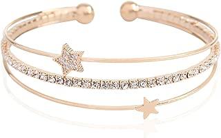 Sparkly Rhinestone Bridal Wedding Statement Bracelet - Cubic Zirconia Crystal Stretch Memory Wire/Adjustable Wrist Band Cuff/Hinge Bangle/Delicate Star Heart Flower