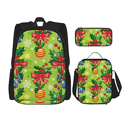 Cinta de Navidad nudo y bolas mejor regalo para estudiantes 3 en 1 Set mochilas resistentes al agua/gran capacidad lápices casos/bolsa de almuerzo aislada para mujeres/hombres