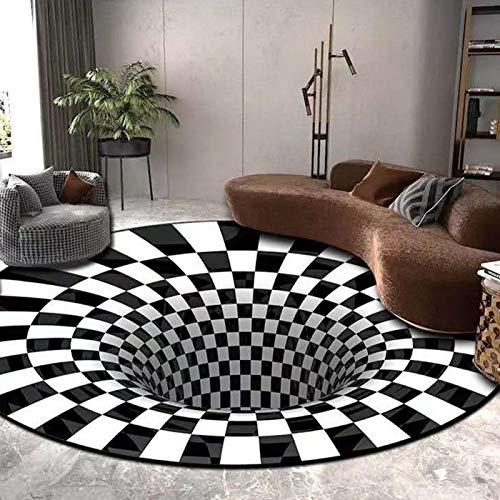 Happymore Alfombra de ilusión 3D, redonda, con relieve, cojín de suelo, alfombra de ilusión óptica, a cuadros, decoración para la cocina del hogar, no tejida