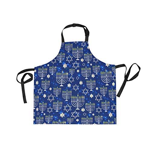 CHINEIN Adjustable Bib Apron Cooking Kitchen Aprons for Women Men Chef Happy Hanukkah Shining Menorah David Star