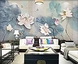BLZQA Fotomurales Papel pintado tejido no tejido Murales moderna Loto mariposa Arte de la pared Decoración de Pared decorativos 150x100 cm-3 panelen