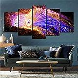 mmkow Mural Set de 5 Piezas fotografía Fuegos Artificiales Imagen Foto página de Inicio para decoración del hogar 100x200cm (Marco)