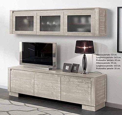 Meuble TV 3 cestoni avec Suspendu Décoration pour la Maison Bois Massif Design Moderne