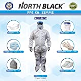 NORTH BLACK DRDO Certified Medical SSMMS PPE Kit   Coverall, Hood, Gloves, Shoe Cover, Goggles, Face Mask & Shield   Premium Quality Comfortable, Breathable & Disposable  Airport Use 70 gsm Free Size
