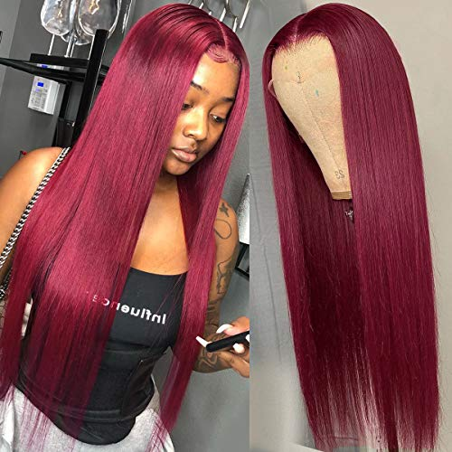 Supernova 99J Burgundy Lace Front Wigs Human Hair 4x4 Lace Closure Long Straight Red Wig Brazilian Virgin Human Hair Pre Plucked With Baby Hair For Black Women 150% Density 22 Inch