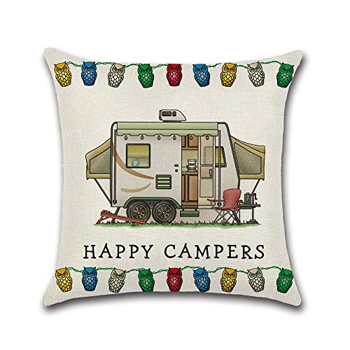 Campers Pillow Case Cotton Linen Campers Throw Pillow Case Cover Decorative Pillowcases