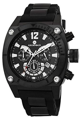 Reichenbach Armbanduhr für Herren mit Analog-Anzeige, Chronograph mit Seiko Movement, Silikonarmband - wasserdichte Herrenarmbanduhr mit zeitlosem - Klassische Uhr für Männer - RB115-622 Schwartz