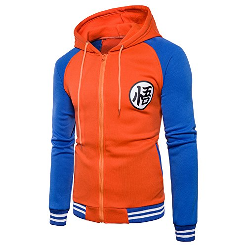 PIZZ ANNU Dragon Ball Z Son Goku Orange Zip-Up Erwachsener Hoodie (Orange&Blau, M)