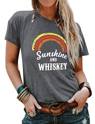 Dresswel Damen Sunshine and Whiskey Regenbogen T-Shirt Kurzarm mit Rundhalsausschnitt Grafik Drucken Top Sommer Oberteile T Shirt