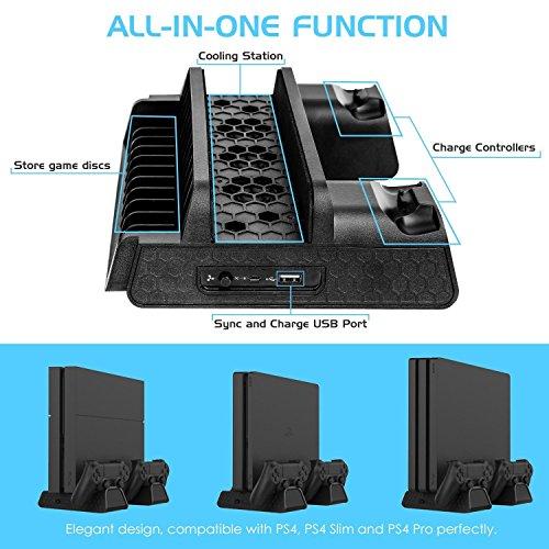 PS4 / PS4 Slim / PS4 Pro Base Vertical Enfriadora Cargadora Apoya Discos PlayStation 4 / Slim / Pro