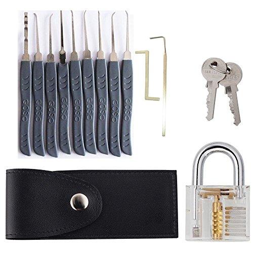 Nachschließen 11-teiliges Pick Set/Dietriche Set, Schlüssel Extractor Werkzeug Set + Transparentem Vorhängeschloss zum Üben. Für Schlosserei, Schlüsseldienst, Geocacher, oder Hobby - INTERINNOV©