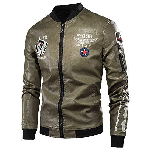 Männer Frühling HerbstCasual Motorrad Vintage Lederjacken Mantel Männer Mode Biker US Army Bomber Stickerei PU Lederjacke Männlich