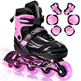 Qvamodo Pink Adjustable Inline Skates for Girls Women with Fun Lighting Wheels& Protective Gears,...