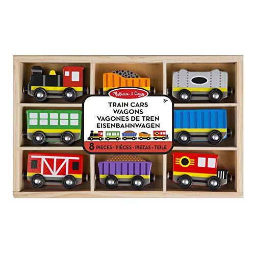 Melissa & Doug- Train Cars Juguetes Trenes de Maderacon 8 Piezas, 3+ Años (15186)