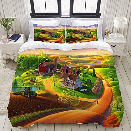 812 Bedding printed duvet cover,Spring On The Farm,microfiber quilt cover(200x200cm),Pillowcase 50x80cm