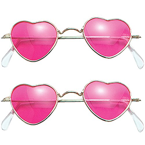 2 Brillen in Herzform rosa Gläser Brille Komplettbrille Unisex Liebe Liebesbrille