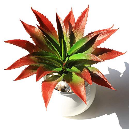 JUSTOYOU Plantas artificiales 30 cm de ancho, verde, toque real, plantas suculentas para jardín interior y exterior, decoración baño