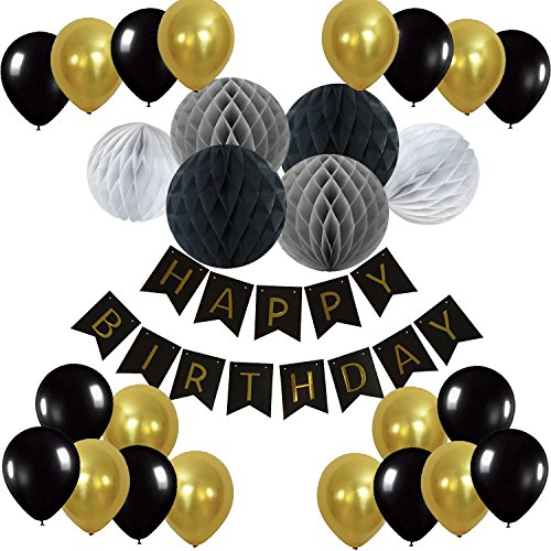 Recosis Geburtstag Dekoration, Happy Birthday Girlande mit Luftballons Latexballons und Wabenbälle Papier für Geburtstag Dekoration - Schwarz