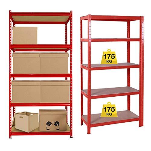 150cm x 70cm x 30cm Garage Shelving Units, Heavy Duty Boltless Freestand Racking Shelves for Workshop, Shed, Office Home Garage Storage, Red 5 Tier (175KG Per Shelf), 875KG Capacity