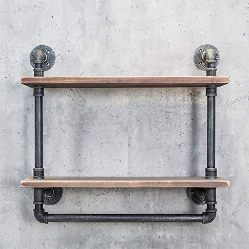 Ethemiable Industrielles Vintage-Badezimmer-Regal, 61 cm, Holzregal mit Handtuchstange, Wandmontage,...
