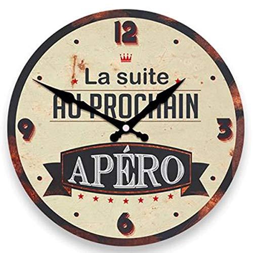 Les Trésors De Lily [P8536 - Horloge Murale 'Apéro Vintage' Marron Beige (la Suite au Prochain Apéro) - 28 cm