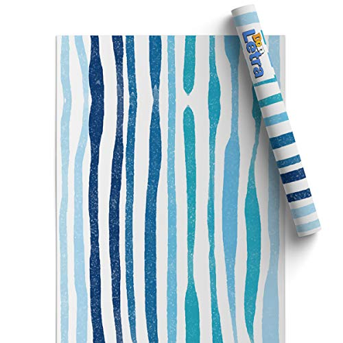 Papel Adhesivo de Vinilo para Muebles y Pared - 45x200cm - Rayas Azules, Fondo Blanco - Vinilo Resistente, Impermeable y Removible, VM-0802