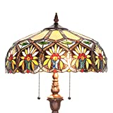 Capulina Hand-Crafted Tiffany Floor Pole Lamp Lights, Tiffany Floor Lamps for Reading, Floor Lamps Tiffany Style Shade, Stained Glass Floor Pole Lamps, Tiffany Standing Lamps (Tall: 70 x W14 inches)