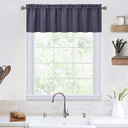Blackout Valances for Windows Living Room Kitchen Bedroom Thermal Insulated Window Valance Curtains (Grey, 52x15 Inches)