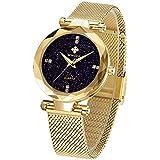 WWOOR Women's Watch Fashion Star Watch Analog Quartz Watches with Stainless Steel Mesh Band Waterproof Wristwatch Casual Gift Watch Ladies (Gold)