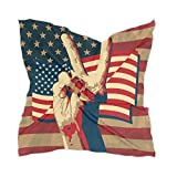 LZXO - Bufanda para mujer, diseño de bandera de Estados Unidos, pañuelo para la cabeza, pañuelo ligero, con 10 pasadores de bobby, 60 x 60 cm