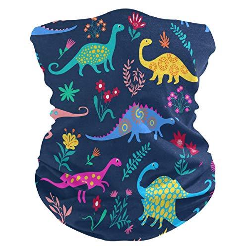 ALaze Bufanda de protección Facial con 2 filtros de Carbono, Dinosaurios de Dibujos Animados Estampados Pañuelo de Verano Polaina de Cuello Fino Bufanda de enfriamiento con Bloqueador Solar