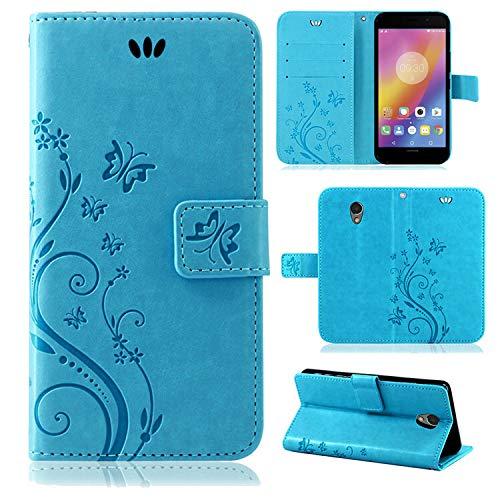 betterfon | Flower Case Handytasche Schutzhülle Blumen Klapptasche Handyhülle Handy Schale für Lenovo P2 Blau