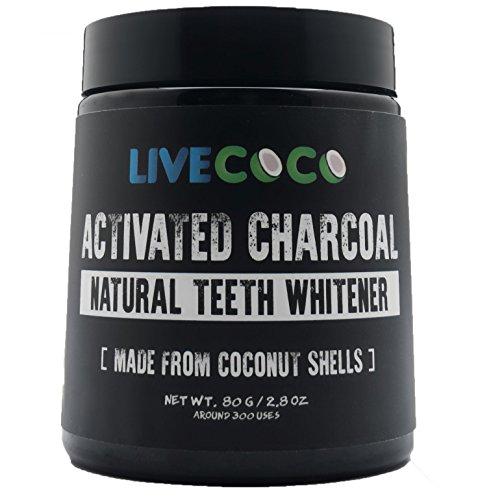 Livecoco carbone attivo per lo sbiancamento dei denti, sbiancamento denti utilizzando gusci di cocco, RAW & food grade naturale senza aromi artificiali, 100% naturale, grande vasca, 80g = 300usi