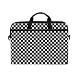 TARTINY 15-15.4 Inch Laptop Bag Modern Checkered Pattern Black White Texture Shoulder Messenger Bags Sleeve Case Tablet Briefcase with Handle Strap