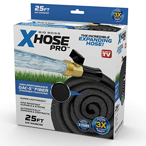 Xhose Pro DAC-5 High Performance Lightweight Expandable Garden Hose with Brass Fittings (25 Feet)