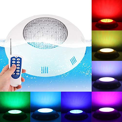 ABEDOE 24 LED RGB Unterwasser wechselndes Schwimmbadlicht, Multi-Color RGB Fernbedienung Edelstahl oder Kunststoff Außenbeleuchtung wasserdichte Unterwasserlampe (20W SMD Beads RGB + Fernbedienung)
